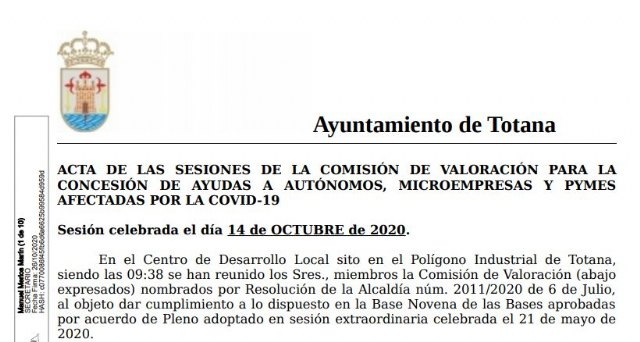 The city council publishes the first lists on the resolution of aid to the self-employed, micro-enterprises and SMEs affected by COVID-19