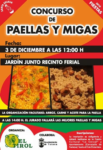 The Paellas and Migas Contest will be held next Saturday, December 3rd, in the garden next to the fairground