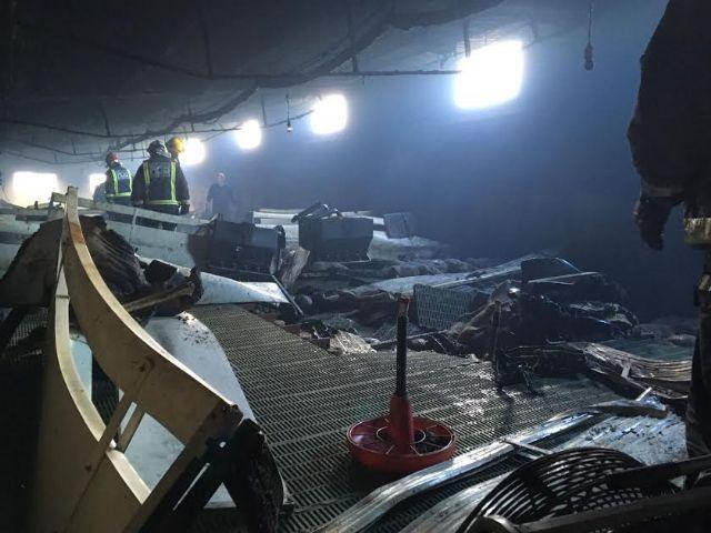 La Policía Local participa en el dispositivo de seguridad y emergencias del incendio en un cebadero de Totana en el que han muerto 700 lechones