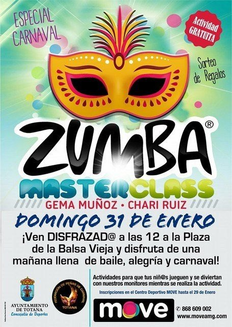 La Master Class de Zumba combina mañana deporte y disfraces con motivo del Carnaval´2016