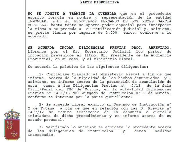 El juez ordena investigar si Valcárcel y doce altos cargos intervinieron supuestamente en una recalificación ilegal - 1, Foto 1