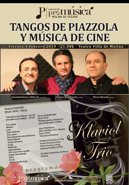 Trío Klaviol interpreta el concierto TANGOS DE PIAZZOLLA Y MÚSICA DE CINE el viernes 1 de febrero en el Teatro Villa de Molina - 1, Foto 1