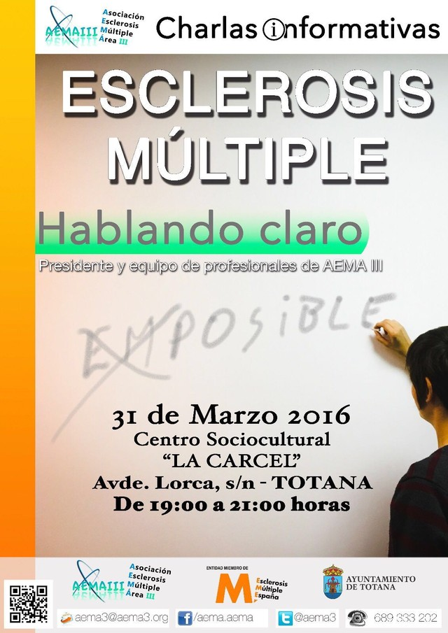 Totana acoge mañana la charla sobre Esclerosis Múltiple Hablando Claro - 1, Foto 1