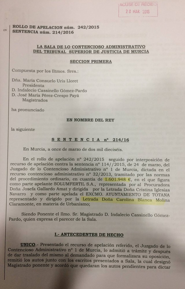 Another judgment of conviction Murcia TJS of the council to return the money of a planning agreement, plus interest, Foto 1