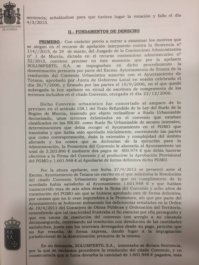 Another judgment of conviction Murcia TJS of the council to return the money of a planning agreement, plus interest, Foto 2