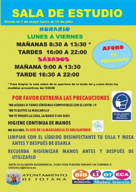 [A partir del 1 de mayo y hasta el 10 de julio se retoma el horario de los sábados en la Sala de Estudio del Centro Sociocultural