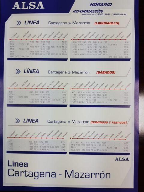 Nuevos horarios de autobuses en las líneas Bolnuevo-Mazarrón-Murcia y Mazarrón-Cartagena - 1, Foto 1