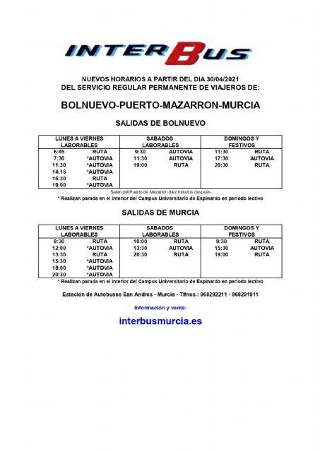 Nuevos horarios de autobuses en las líneas Bolnuevo-Mazarrón-Murcia y Mazarrón-Cartagena - 2, Foto 2