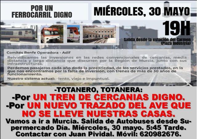 Esta tarde tendrá lugar en Murcia una importante manifestación en defensa de una red de trenes de cercanías digna