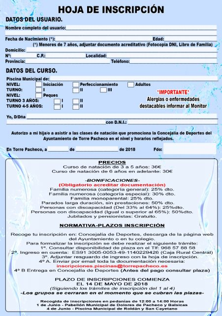 Abierto el plazo de inscripción para los cursos de natación de verano en Torre Pacheco - 5, Foto 5
