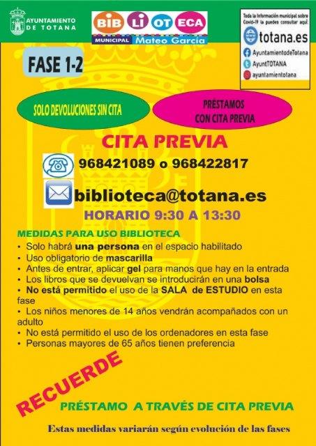 """La biblioteca municipal """"Mateo García"""" habilita, a partir del lunes, el servicio de préstamos con cita previa con medidas restrictivas"""