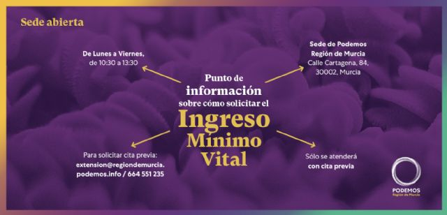 Podemos Region of Murcia launches an information point on how to apply for the Minimum Vital Income, Foto 1
