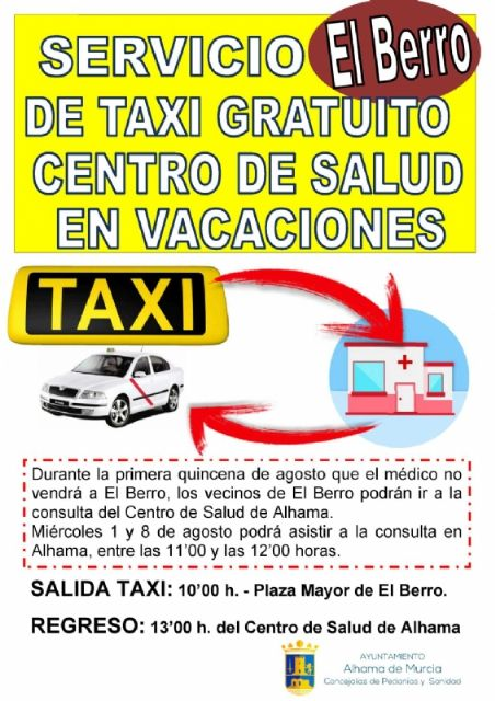 El Berro contará con un servicio de taxi gratuito al centro de salud en vacaciones, Foto 1