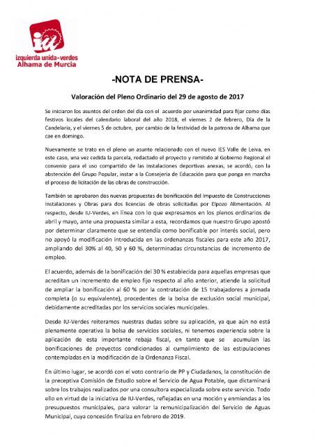 Valoración del Pleno Ordinario del 29 de agosto de 2017 - IU-verdes Alhama de Murcia, Foto 1