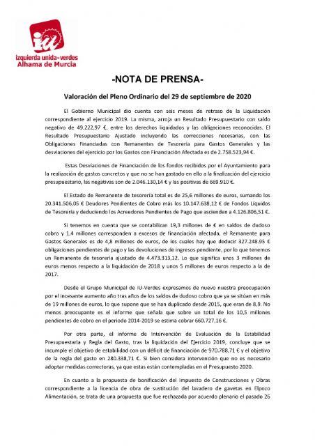 Valoración del Pleno Ordinario del 29 de septiembre de 2020. IU-verdes Alhama de Murcia - 1, Foto 1