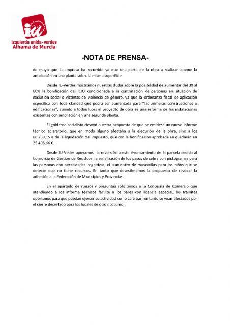 Valoración del Pleno Ordinario del 29 de septiembre de 2020. IU-verdes Alhama de Murcia - 2, Foto 2