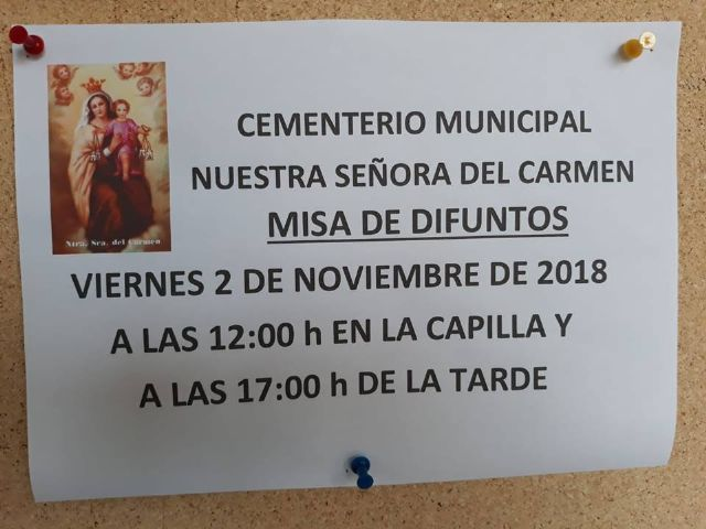 "The Mass for the Dead is celebrated on November 2 at the Municipal Cemetery ""Nuestra Señora del Carmen"" of Totana"