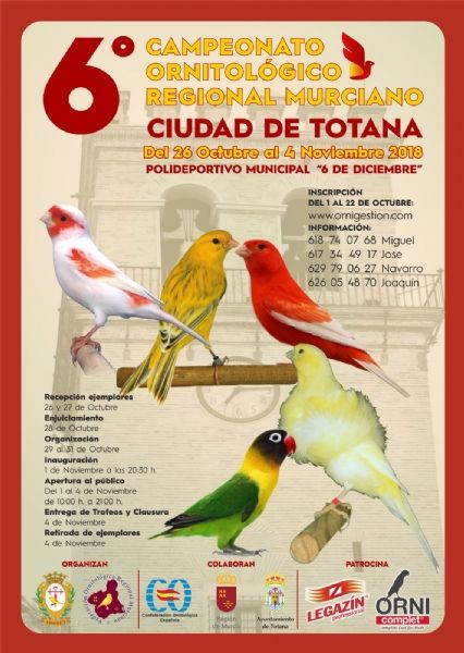 Totana acoge hasta el próximo 4 de noviembre el 6° Campeonato Ornitológico Regional Murciano en el Pabellón