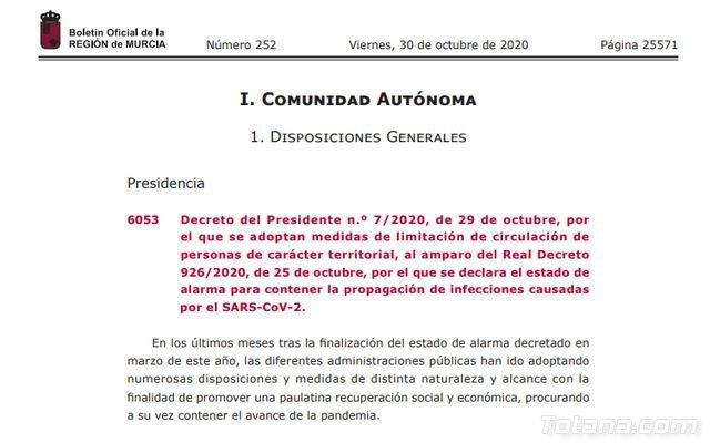 BORM. Decreto por el que se adoptan medidas de limitación de circulación de personas de carácter territorial