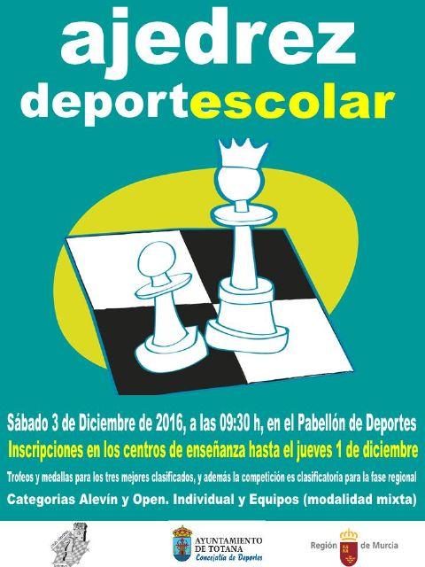 El próximo sábado tendrá lugar la fase local de ajedrez de Deporte Escolar