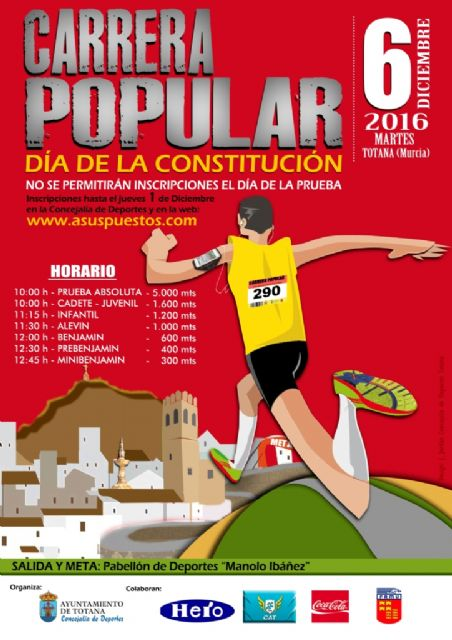 "Tomorrow Thursday, December 1, the registration deadline for the Popular Race ""Constitution Day"" ends"