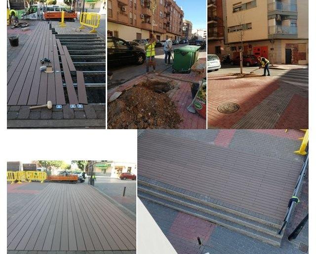 Saorín: Empleados municipales sustituyen la tarima de la entrada de la rambla de El Realejo - 1, Foto 1
