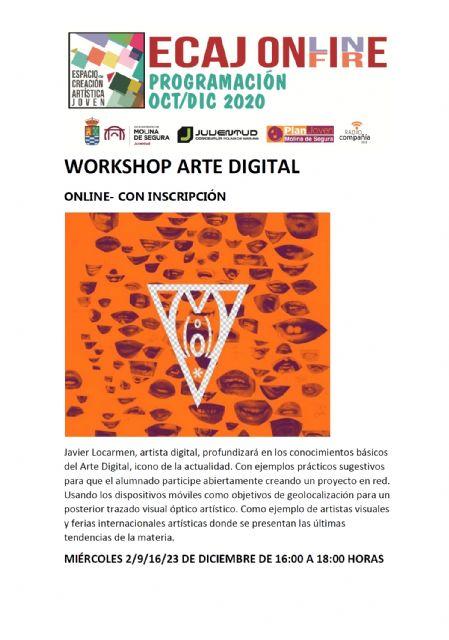 La Concejalía de Juventud comienza el miércoles 2 de noviembre, dentro del programa On-Fire del Espacio de Creación Artística Joven ECAJ, las sesiones formativas de Arte Digital - 1, Foto 1