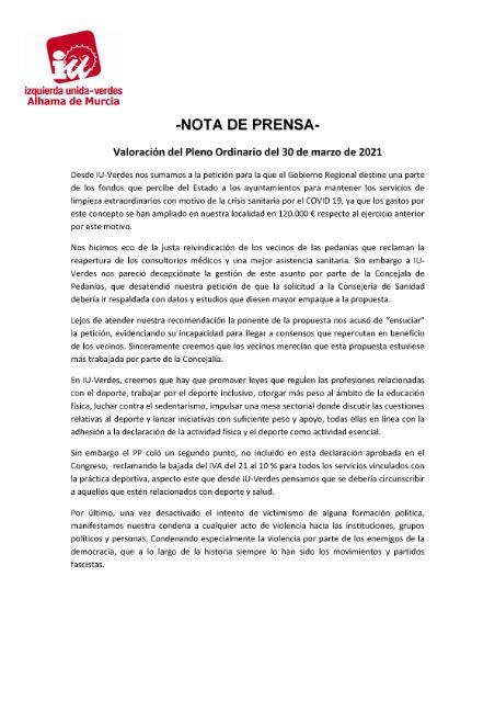 Valoración del Pleno Ordinario del 30 de marzo de 2021. IU-verdes Alhama de Murcia - 1, Foto 1