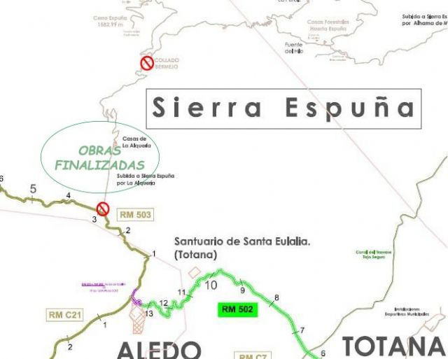 The access to Sierra Espuña is again open from the RM-503, up from the Las Alquerías area to the Collado Bermejo after completion of the works