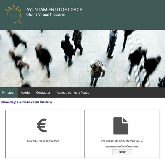 El Ayuntamiento de Lorca amplía los servicios de la Oficina Virtual Tributaria - 1, Foto 1