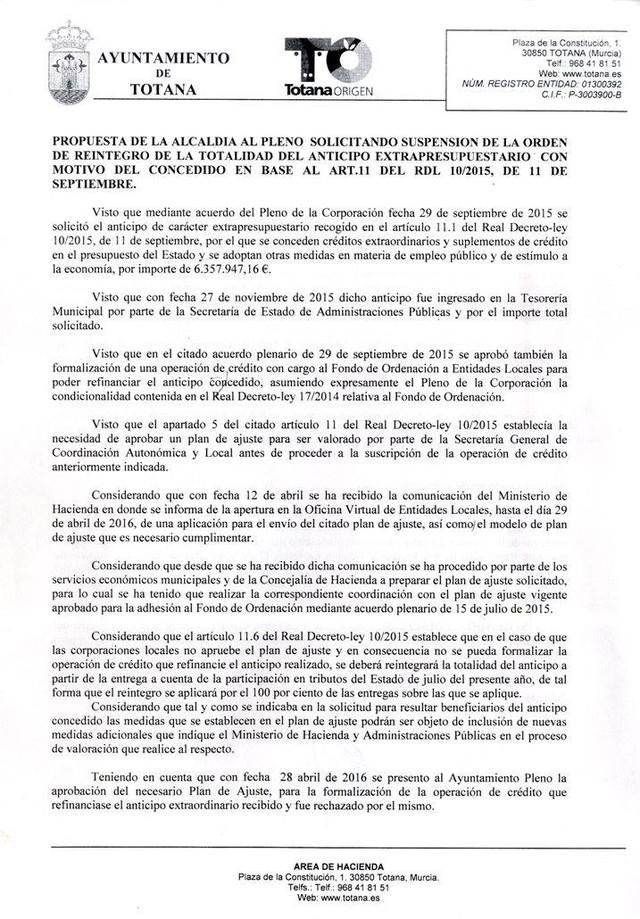 propuesta de alcaldía para solicitar la Suspensión de la Orden de Reintegro de la Totalidad del Anticipo Extrapresupuestario, Foto 1