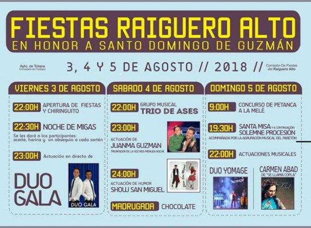 Las fiestas de El Raiguero Alto, en honor a Santo Domingo de Guzmán, se celebran este próximo fin de semana - 2, Foto 2