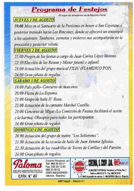 El traslado de San Cayetano inicia mañana las fiestas de los Rincones - 2, Foto 2