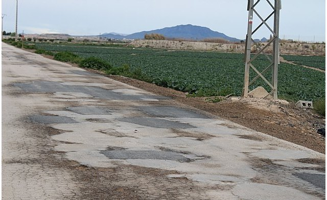 The Ministry of Agriculture includes three rural roads in Totana out of the 37 in the Region chosen for adaptation for a total amount of 6 million euros
