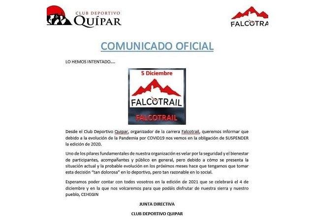 Se suspende definitivamente la edición de la prueba deportiva Falco Trail 2020 - 1, Foto 1
