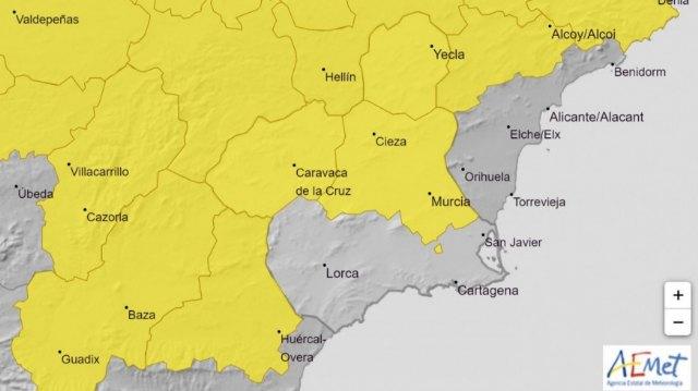 Alerta amarilla en Cieza este miércoles por lluvias que pueden alcanzar los 15 litros por metro cuadrado en una hora - 1, Foto 1