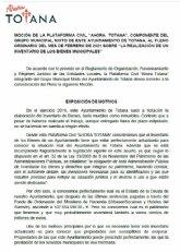 El Pleno aprueba la moci�n de Ahora Totana sobre la realizaci�n con urgencia de un Inventario de Bienes Muebles e Inmuebles y Derechos del Ayuntamiento de Totana