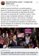 El PP de Lorca exige una rectificación pública inmediata del PSOE lorquino y de su diputada nacional, tras acusar de genocidas a PP, Vox y Ciudadanos