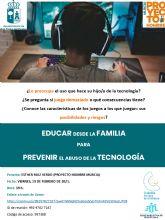 Bienestar Social organiza el taller 'Educar desde la familia para prevenir el abuso de la tecnología'