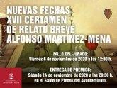 Nuevas fechas XVII certamen de relato breve Alfonso Mart�nez-Mena