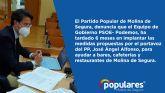 6 meses en implantar las medidas propuestas por el PP para ayudar a la hostelería