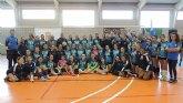 Los equipos de voleibol de la A.D. La Unión, presentados en Roche.