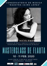 El Conservatorio Profesional de Música Maestro Jaime López de Molina de Segura organiza una master class de flauta travesera los días 10 y 11 de febrero