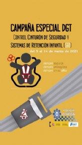 La Policía Local de Cehegín se suma a la campana de la DGT para fomentar el uso del cinturón de seguridad y los sistemas de retención infantil