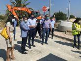 Joaquín Hernández, alcalde de Lorquí, visita las obras del Colector General de Saneamiento en la pedanía de La Anchosa
