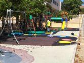 Finalizan las obras de sustituci�n del pavimento de caucho de la zona de juegos infantiles del parque Tierno Galv�n