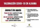 Previsi�n de vacunaciones Covid-19 en Alhama para el jueves 5 de agosto