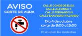 AVISO: corte de agua el jueves 4 de octubre en calle Alfonso X y adyacentes