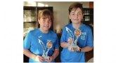 Javier L�pez y Eva Martinez, de la escuela de tenis Kuore de Totana,  campeones en las categor�as Alev�n masculino y femenino en el torneo Regional Iniciatenis