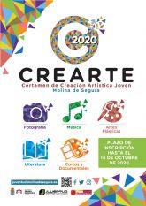 La Concejalía de Juventud de Molina de Segura pone en marcha la cuarta edición del Certamen de Creación Artística Joven CREARTE 2020